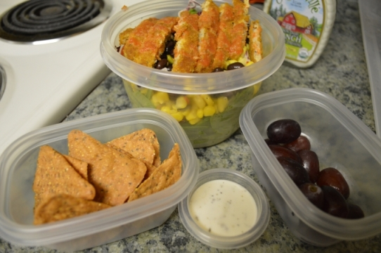 Santa Fe Chick'n Salad, Tortilla Chips, and Grapes
